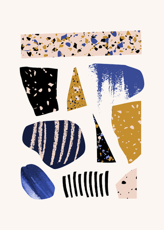 Contemporary collage with hand drawn elements, terrazzo textures and geometric shapes in blue, yellow, pink and black on white background. Abstract design elements, modern wall art, t-shirt design.
