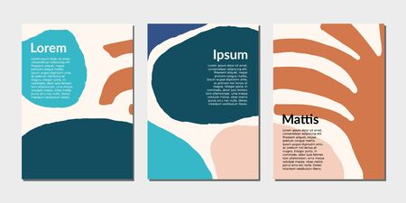 Modern abstract design templates with organic shapes in blue, brown and pink pastel colors. Creative magazine covers, wedding invitations, flyers, newsletter, poster, greeting cards, packaging and branding design.