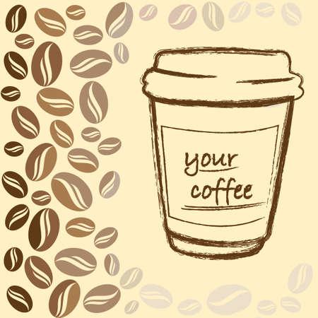 caffeine: background, brown, food, bean, caffeine, cup, symbol Illustration