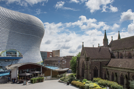 Bullring and Cathedral in Birmingham city center