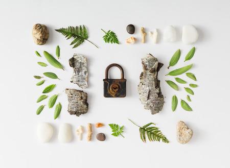 diseño creativo naturales de hojas, piedras y corteza de árbol en el fondo blanco. aplanada.