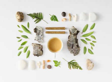 흰색 배경에 나뭇잎, 돌과 나무 껍질로 만든 풍경, 자연 레이아웃입니다. 플랫 누워. 스톡 콘텐츠