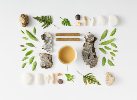 Creative natural layout made of leaves, stones, and tree bark on white background. Flat lay. Banco de Imagens
