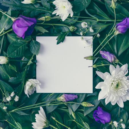 創造的なレイアウトは、花および紙カード注葉から成っています。フラットが横たわっていた。性質の概念