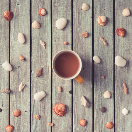 여름 아침 커피 패턴 바다 물건했다. 평평한 평신도.