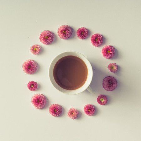 warm things: Colourful bright layout made of natural daisy flowers with coffee cup.