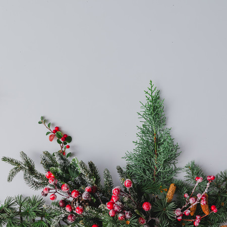 Christmas background made of natural winter things on white. Flat lay.