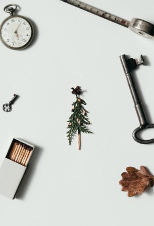 Creative arrangement of things on desk