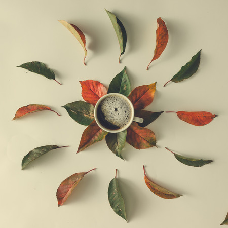 Creative autumn layout with leaves and coffee cup. Flat lay. Fall cocncept.