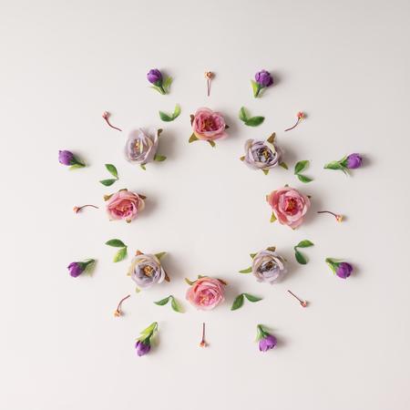 Creative arrangement of various flowers. Flat lay. 写真素材