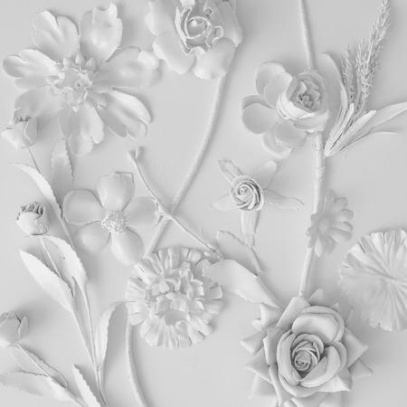 Struttura di fiori bianchi. Concetto Minimo creativo. Pianta piatta. Archivio Fotografico