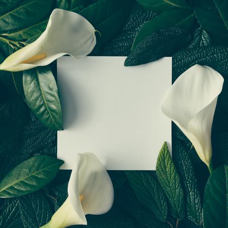 Creatieve lay-out gemaakt van groene bladeren en witte bloemen met papieren notitie. Plat leggen. Natuur concept Stockfoto