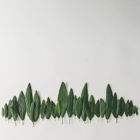밝은 배경에 녹색 잎으로 만든 숲의 수목 한계선. 최소한의 자연 개념. 평평하게 놓으십시오.