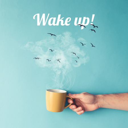Coffee cup with steam, clouds and birds. Coffee concept. Flat lay. Imagens - 76696004