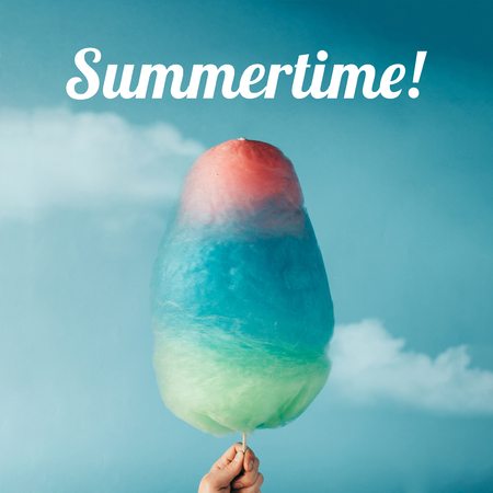 Cotton candy on sky background. Summer concept.