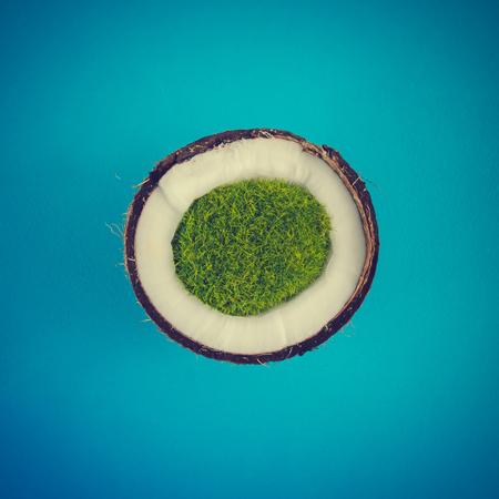 파란색 배경에 코코넛 열 대 섬입니다. 최소 여름 개념입니다. 평평한 평신도. 스톡 콘텐츠