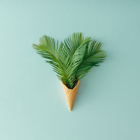 Palm tree leaves in ice cream cone on pastel blue background. Flat lay. Summer tropical concept. Archivio Fotografico
