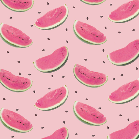 Watermelon pink pattern. Flat lay. Summer concept. Stock Photo
