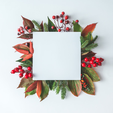 Creative Christmas layout made of natural decoration. Flat lay. Nature New Year concept. Imagens