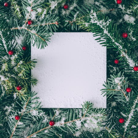 Layout criativo feito de galhos de árvore de Natal com nota de cartão de neve e papel. Leito plano. Conceito de Natureza Ano Novo.