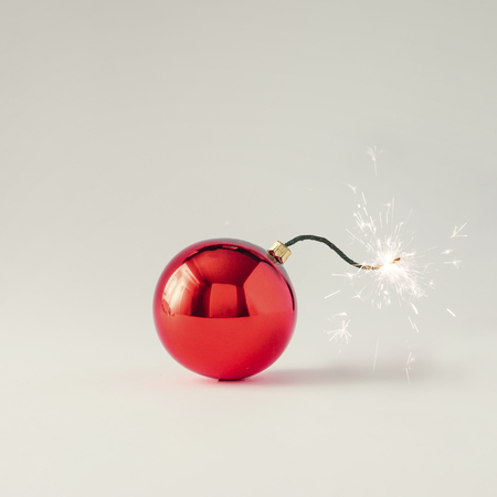 Christmas bauble decoration fuse bomb. Time for celebration. New Year concept.