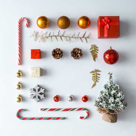 Creative Christmas layout made of christmas winter decoration. Flat lay. Nature New Year concept.