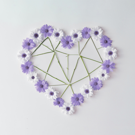 Heart shape made of violet and white daisies with low poly flower stems. Flat lay. Valentines concept.