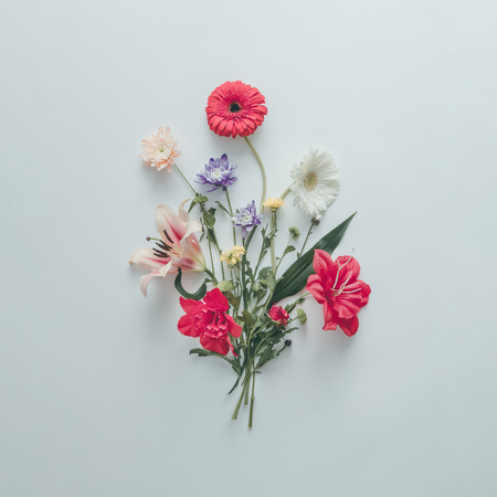 Creative layout made of various flowers. Flat lay bouquet. Love concept.