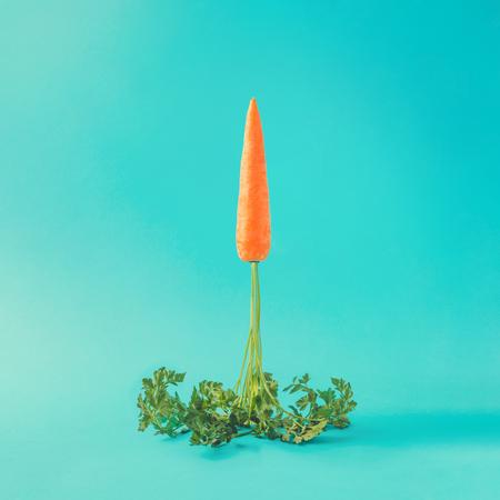 Karottenraketenstart auf Pastellhimmelblauhintergrund. Ostern minimales Konzept.