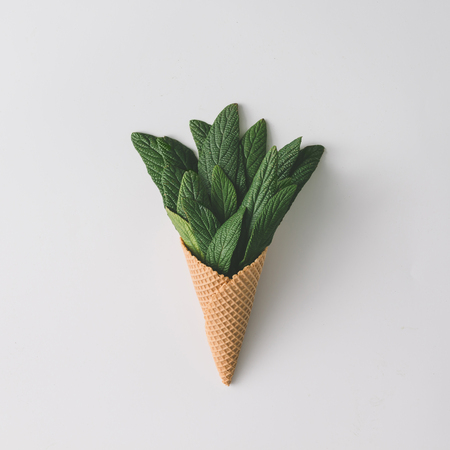 Ice cream cone with green leaves on bright background. Flat lay. Nature summer concept.