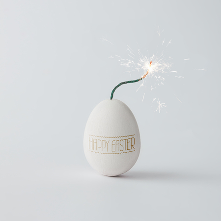 Easter egg fuse bomb concept. Minimal holiday concept.