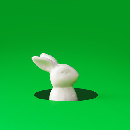 White Easter bunny rabbit peeking out from hole. Creative minimal concept.