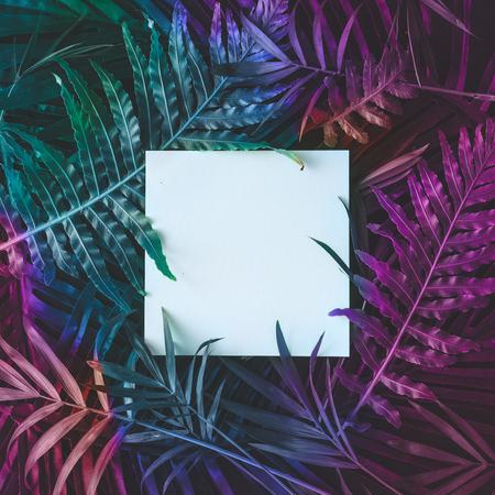 Creative tropic purple leaves layout. Supernatural concept. Flat lay. Ultra violet colors. Banque d'images