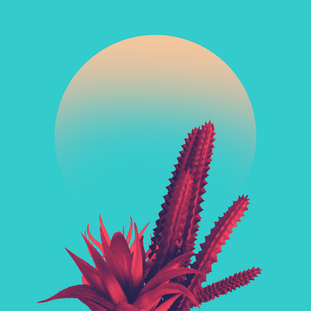 Cactus duotone in vibrant bold gradient holographic colors. Concept art. Minimal surrealism. 版權商用圖片