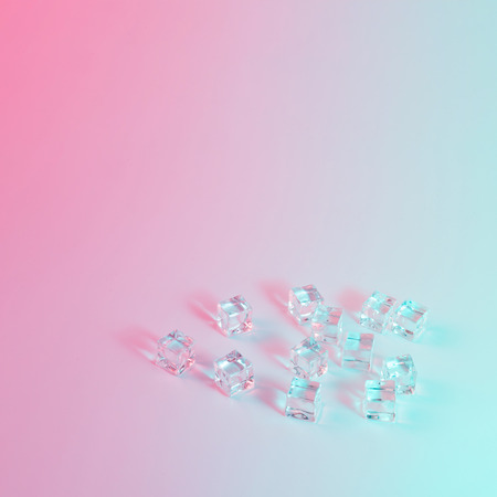 Ice cubes in vibrant bold gradient holographic colors. Concept art. Minimal surrealism.