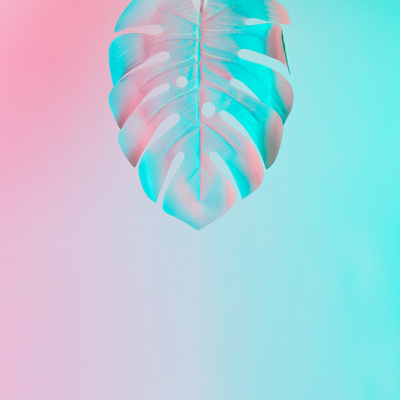 Tropical leaf in vibrant bold gradient holographic colors. Concept art. Minimal surrealism.