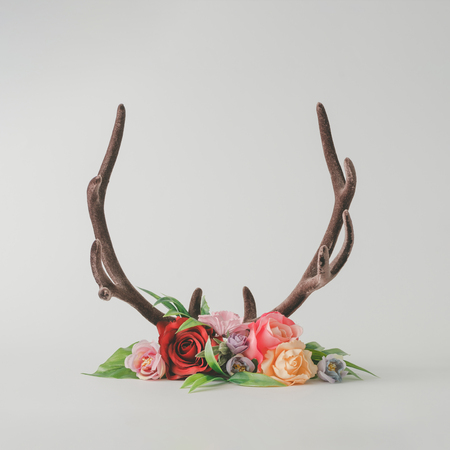 Reindeer antlers with colorful flowers and leaves on bright background. Christmas or nature concept. Stockfoto - 108752146