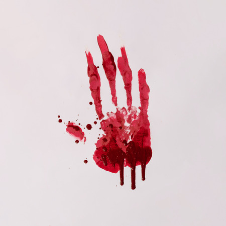 Scary bloody hand print. Halloween horror concept. 免版税图像