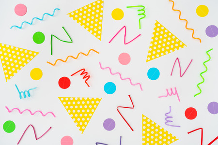 Multicolor geometric shapes pattern. Retro vintage abstract art print. Memphis style 80s  - 90s. Various party objects.