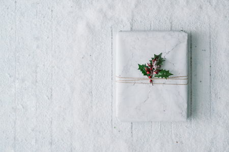 Christmas gift background composition with snow and decoration.New Year Flat lay. Top view.