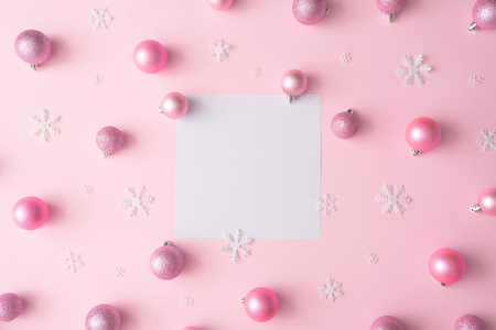 Creative Christmas flat lay design pink pastel color background composition. New Year concept.