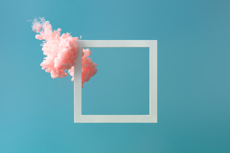 Abstract pastel pink color paint with pastel blue background.. Fluid composition with copy space. Minimal natural luxury. Imagens