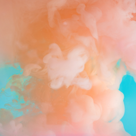 Abstract pastel pink color paint with pastel blue background.. Fluid composition with copy space. Minimal natural luxury. Stock Photo