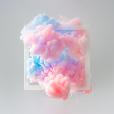 Abstract pastel pink and blue color paint with pastel gray background. Fluid composition with copy space. Minimal natural luxury. Imagens