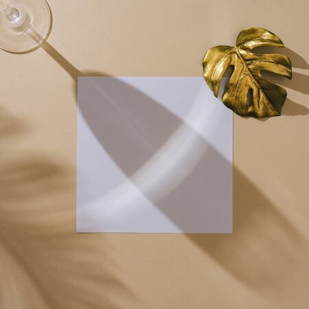 MInimal top view of champagne glass with golden monstera leaf, palm shadows and white paper card copy space. Summer creative concept. Stock Photo