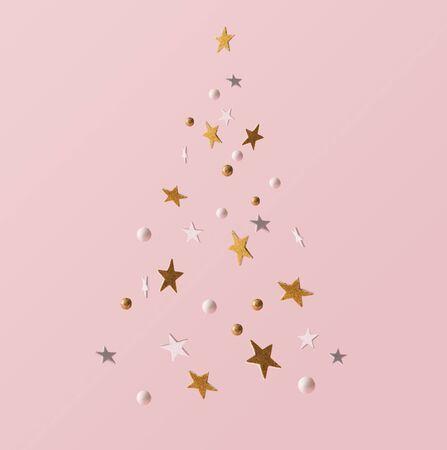 Golden and white glitter decoration and pink background. Celebration minimal Christmas tree. Standard-Bild - 132617462