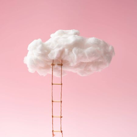 Step ladder leading to clouds . Growth, future, development concept. Minimal pink compostition. Standard-Bild - 135471325
