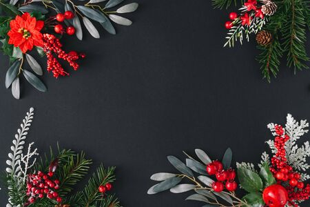 Christmas dark background made of natural winter things. Flat lay border frame with copy space. Standard-Bild - 135493013