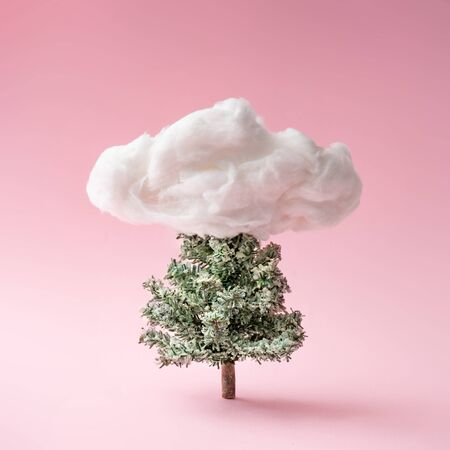 Christmas composition. Christmas tree with cloud on pink background. Happy holidays. new year minimal concept. Standard-Bild - 135471297
