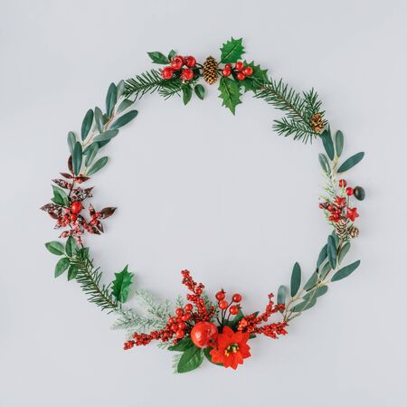 Christmas round frame made of natural winter things. Flat lay. Stock fotó